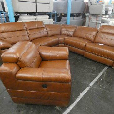 Brown Leather Recliner Corner Sofa and Chair – RRP £4000, our price £2500