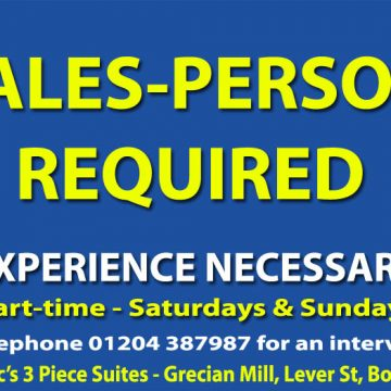 Part-time sales person required for weekends