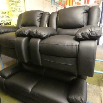 Black Leather sofas & Chairs (top-quality Italian leather)