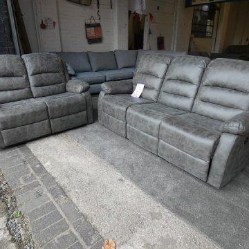 3 + 2 Seater Grey Leather Sofas Set